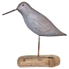 Carved & Painted Folk Art Shore Bird