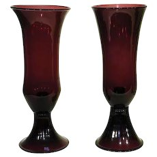 "Pair of 14"" Pairpoint Amethyst Candlesticks"