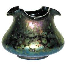 Czechoslovakian Iridescent Art Glass Quatrefoil Rim Squat Vase