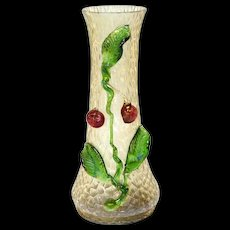 Bohemian Kralik Iridescent Fruit Art Glass Vase