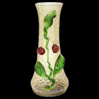Bohemian Kralik Iridescent Fruit Art Glass Vase