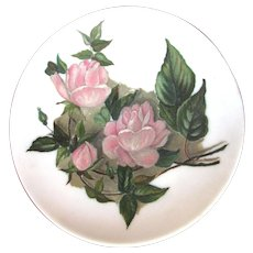 Vintage Hand Painted Cabinet Plate - Roses