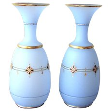 """Pair of 11 ¾"""" Bristol Glass Vases with Gilt Enameled Decoration"""