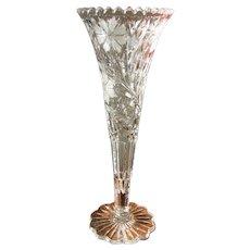 "16"" American Brilliant Period Cut Glass Trumpet Vase"