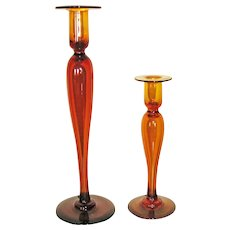 Two Pairpoint Aurora Glass Candlesticks