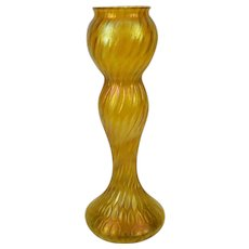 Bohemian Iridescent Yellow Honeycomb Glass Vase