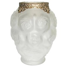 Barolac Molded Art Glass Vase with Roses