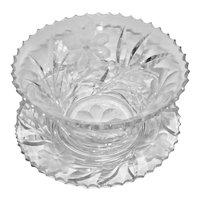 Brilliant Clear Cut Crystal Sauce Bowl With Under Plate