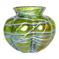 Pallme Konig Iridescent Veined Art Glass Vase