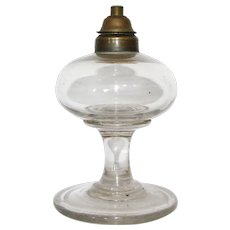 Small Antique Clear Glass Fluid Lamp