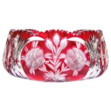 Bohemian Cut & Ruby Overlay Crystal Bowl