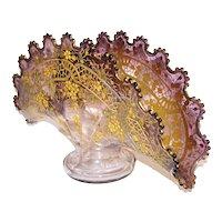 Moser Enameled Bohemian Art Glass Fan Vase