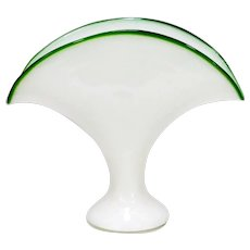 Kralik White Bohemian Art Glass Fan Vase