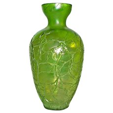 "8 1/2"" Kralik Crackle Art Glass Vase"