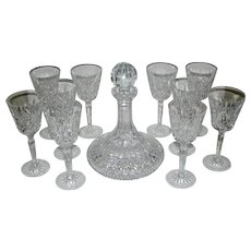 Waterford Lismore Crystal Ship's Decanter and Set of Wines