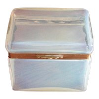 Vintage Opalescent or Clambroth Glass Box with Hinged Top
