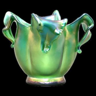 Floral Blossom Form Austrian Art Glass Vase