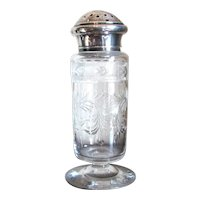 Signed Hawkes Intaglio Cut Crystal & Sterling Shaker