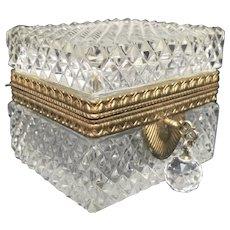 Cut Crystal Jewel Casket w/ Key