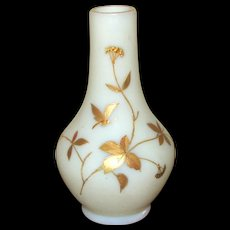 White Victorian Satin Glass Vase with Gold Butterfly
