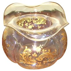 Clear Glass Victorian Vase with Gold Enameled Design