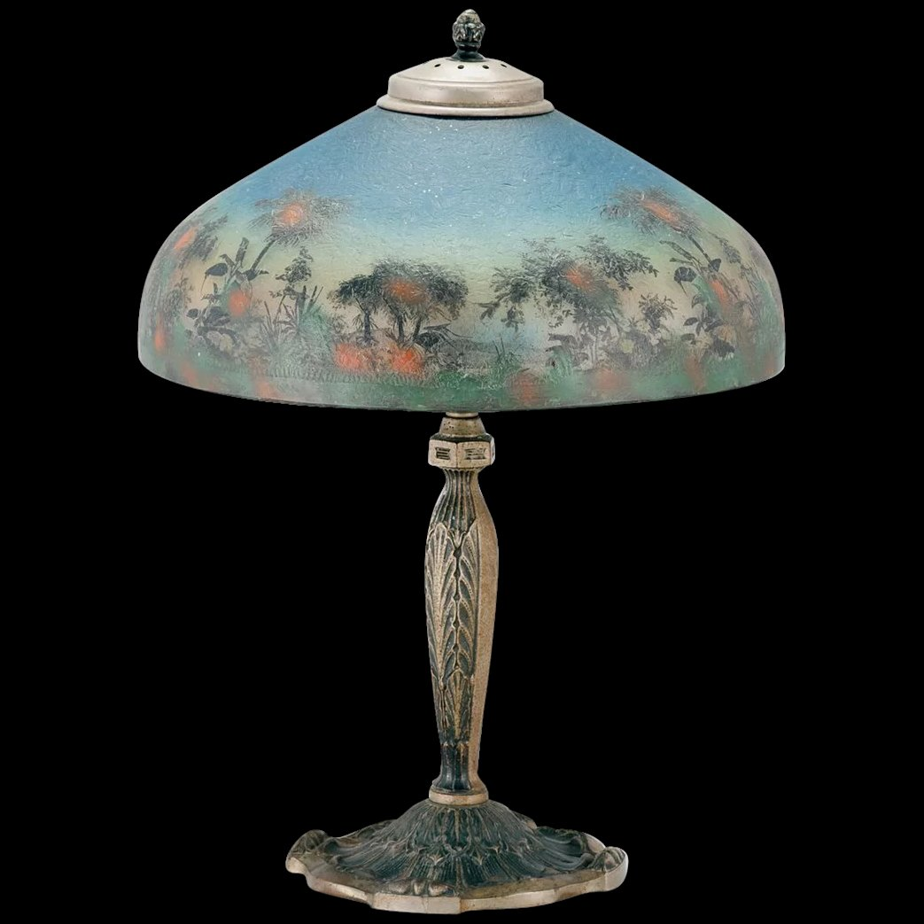 Signed Reverse Painted Pittsburgh Lamp Sold Ruby Lane