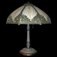 Bradley & Hubbard Slag Glass Lamp - Signed