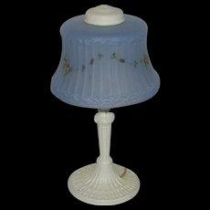 Art Deco White Painted Boudoir Lamp w/ Blue Shade