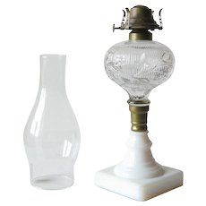 Pressed Glass Fluid Lamp with Milk Glass Base