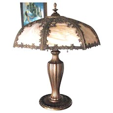 Miller Art Nouveau 8 Panel Caramel Slag Glass Lamp