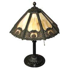 Bradley and Hubbard Art Nouveau Slag Glass Table Lamp