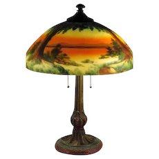 Antique Jefferson Reverse Painted Scenic Sunset Lamp