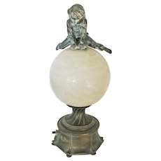Art Nouveau Alabaster & Spelter Leapfrog Table lamp