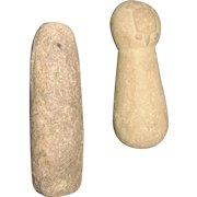 2 Native American Stone Pestles, One with a Carved Turtle