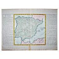 Map - 'De L'Espagne en General', by J-B. L. Clouet. – ca 1780