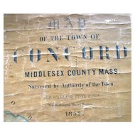Antique Map of Concord, MA 1852 H.F. Walling