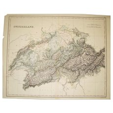 1848 Double Page Atlas Map of Swizterland