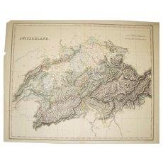 1848 Double Page Atlas Map of Swizterland