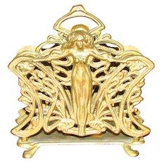 Vintage Art Nouveau Brass Letter Holder with Woman