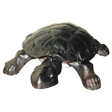 Antique Cast Metal Turtle Spittoon