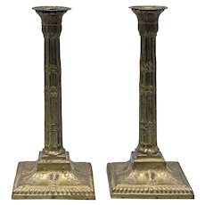 Pair of Antique 19th Century Brass Candlesticks in Adam form - Red Tag Sale Item