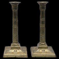 Pair of Antique 19th Century Brass Candlesticks in Adam form