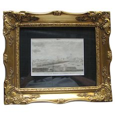 "Framed 1789 Engraving of ""View of the Bridge over Charles River"", Boston"