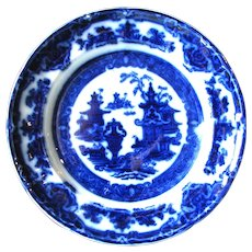 "6 ""Temple"" Pattern Flow Blue Plates"