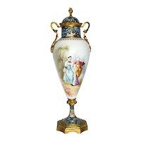 French Porcelain Cloisonne Mounted Mantle Urn