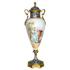French Porcelain Cloisonne Mounted Mantle Urn