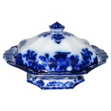 Antique Flow Blue Serving Dish with Cover  – Scinde