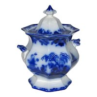 Antique Flow Blue 8' Tall Sugar Bowl with Cover  – Scinde