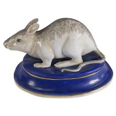 European 18C Continental Porcelain Model of Rodent