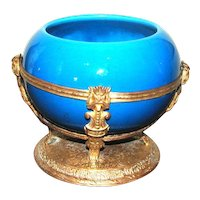 French Paul Milet Sevres Porcelain Gilt Brass Bowl